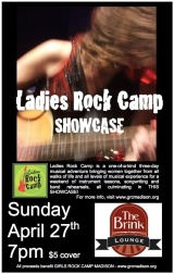 Sunday, April 27th, 7pm Ladies Rock Camp Showcase at The Brink!